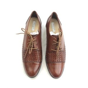 Cole Haan Woven Leather Brogues Cognac Brown 7